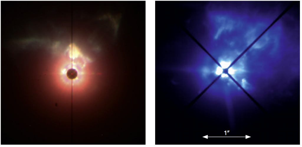 "L: Near-IR image of VY CMa over an 11x11"" field of view. R: close-in view with the optical polarimetric mode (Leibundgut et al 2015)"